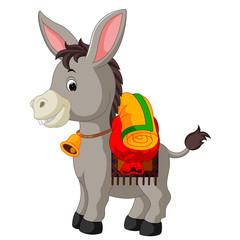 donkey carries a large bag
