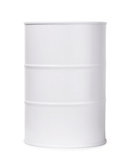 White barrel of fuel or chemicals
