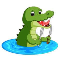 Cartoon crocodile preparing to eat