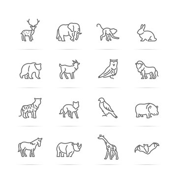 animal vector line icons