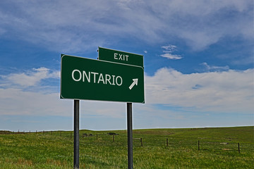 US Highway Exit Sign for Ontario