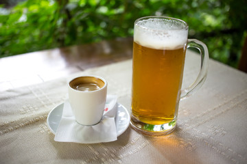 Espresso cup and beer mug.