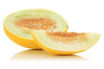 Honigmelone geschnitten tropisch Früchte Frucht Obst Sommer Freisteller freigestellt isoliert