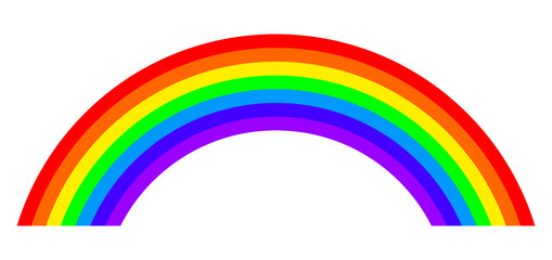 Seven colors rainbow illustration on white background. Arc with bands in the main colors of the spectrum and of the visible light red, orange, yellow, green, blue, indigo and violet. Isolated. Vector.