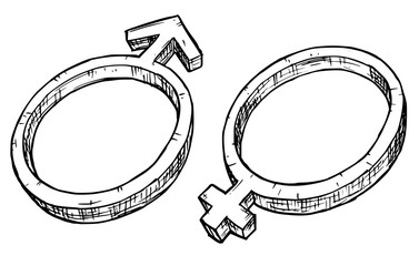 Hand Drawing Female and Male Symbol Illustration