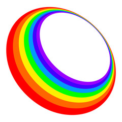 Three dimensional rainbow circle in the seven colors of visible light spectrum red, orange, yellow, green, blue, indigo and violet. Elliptical deformed ring with rainbow bands. Illustration. Vector.