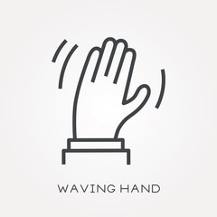 Line icon waving hand
