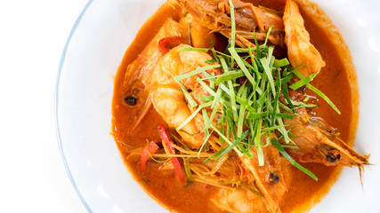 shrimp or prawn massaman curry with white space for text