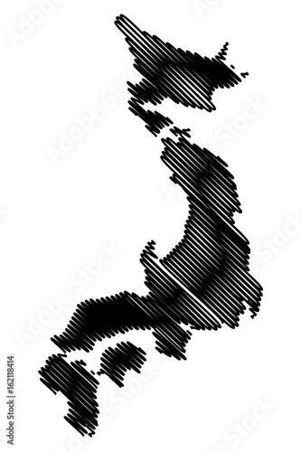 Japan Map Vector Illustration Scribble Sketch Japan Stock Image - Japan map sketch