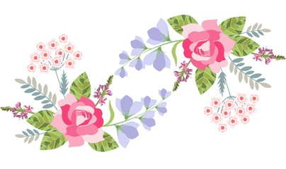 Floral border with rose, bell flower, salvia and turkish carnation isolated on white. Vector illustration.