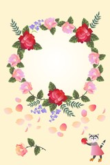 Cute card design with wreath of bright flowers and cat with berry.