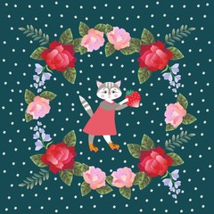 Cute lovely kitten with strawberry and wreath of red and pink roses and bells flowers on dark  background. Kid vector design.