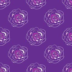 Hand-drawn seamless pattern of beautiful delicate pink rose on a violet background