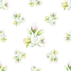 Set of seamless pattern of different combination hand-drawn colorful and outline beautiful delicate flowers