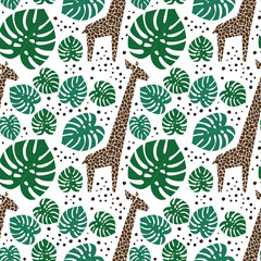Giraffes, palm leaves and dots seamless pattern on white background. Jungle animals with tropical plants print. Fashion safari design for textile, wallpaper, fabric.