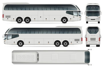 White coach bus template for car branding and advertising. Isolated passenger transport on white. All layers and groups well organized for easy editing and recolor. View from side, front, back, top.