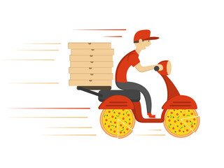 Delivery concept design. Boy ride scooter motorcycle with box. Vector