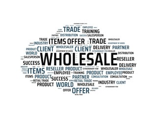 WHOLESALE - image with words associated with the topic WHOLESALE, word cloud, cube, letter, image, illustration