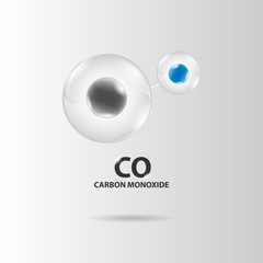 carbon monoxide molecule model vector
