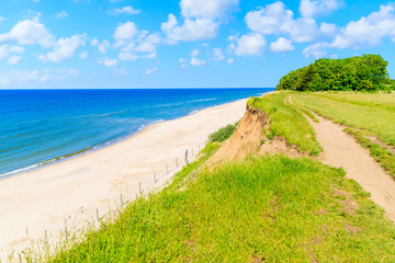 Fototapete - Coastal path along beach in Trzesacz village, Baltic Sea, Poland
