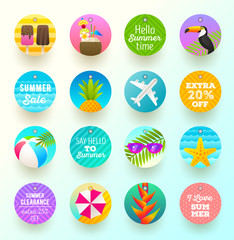 Set of summer vacation and travel labels and tags. Vector illustration.
