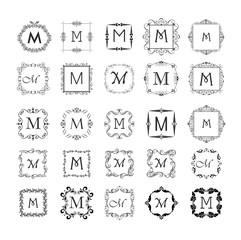 Vintage frames collection for monogram, wedding design, menu card, restaurant, cafe, hotel, jewellery store, logo templates