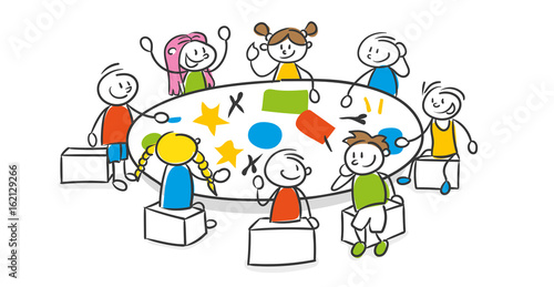 Strichfiguren Kinder Bunt Kinderzimmer Kindergarten