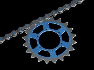 Teil einer Fahrradkette mit Kettenblatt (3D-Rendering)