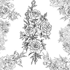 Seamless pattern of beautiful roses on a white background.