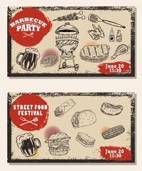 Set of bbq party invitation templates on light background. Grill, beer,meat, burger ,steak. Street food festival