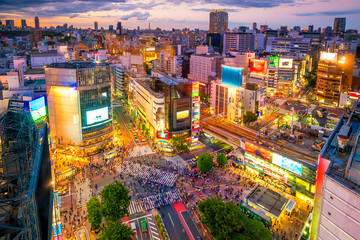 Foto op Canvas Asia land Shibuya Crossing from top view in Tokyo