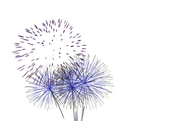 set of fireworks isolated on white backdrop