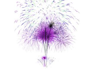 set of fireworks isolated on white backdrop