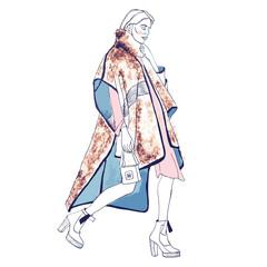 Fashion model. Sketch. Handdrawn Fashion illustration.