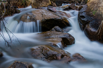 Smooth water flowing over rocks