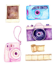 Watercolor hand painted set of cameras, film and polaroid isolated on white. Designer photography elements.