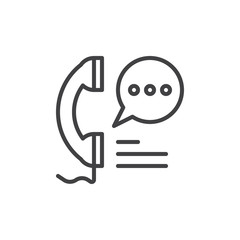 Phone handset and speech bubble line icon, outline vector sign, linear style pictogram isolated on white. Call, contact Symbol, logo illustration. Editable stroke. Pixel perfect graphics
