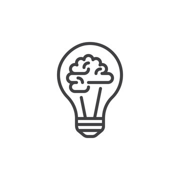 Light bulb and brain line icon, outline vector sign, linear style pictogram isolated on white. Creative idea symbol, logo illustration. Editable stroke. Pixel perfect graphics