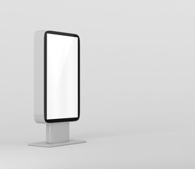 Outdoor Advertising Stand Display (empty banner lightbox) - mockup template isolated on white. 3D rendering