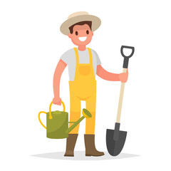 Happy gardener man with a shovel and watering can on a white background. Vector illustration