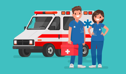 Ambulance staff. Couple of doctors. Vector illustration in a flat style