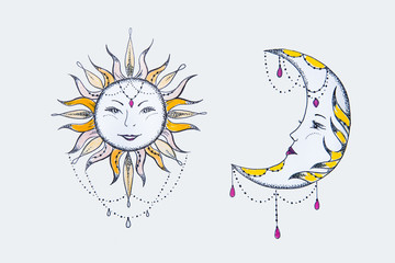 Sketch of the sun and moon against a white background.