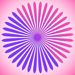 Geometric circle element of radial lines. Bursting lines merging at center. Abstract generic motif, mandala, decorative element.
