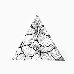 Sketch of a triangle with beautiful flowers on a white background.