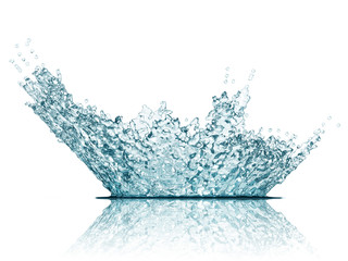 Blue water crown splash isolated on white background