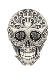 Sugar Skull day of the dead. Hand pencil drawing on paper.