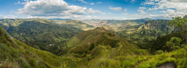 Panorama of a valley in Cauca region of Colombia, near San Andres de Pisimbala