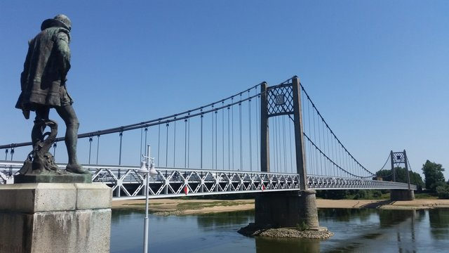 Suspension bridge over the river Loire, Ancenis, France