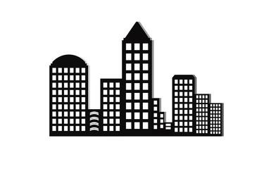 Modern city skyline on white background. Real estate business concept. City Skyline icon.