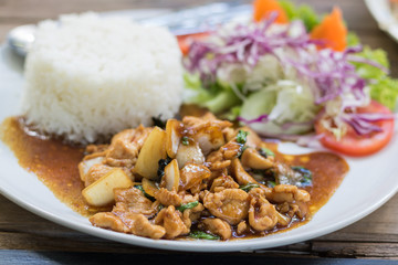 Close up rice topped with stir-fried pork and basil.